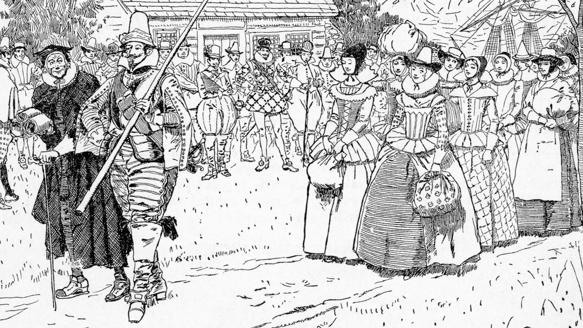An illustration of the arrival of the first women to the Jamestown colony.