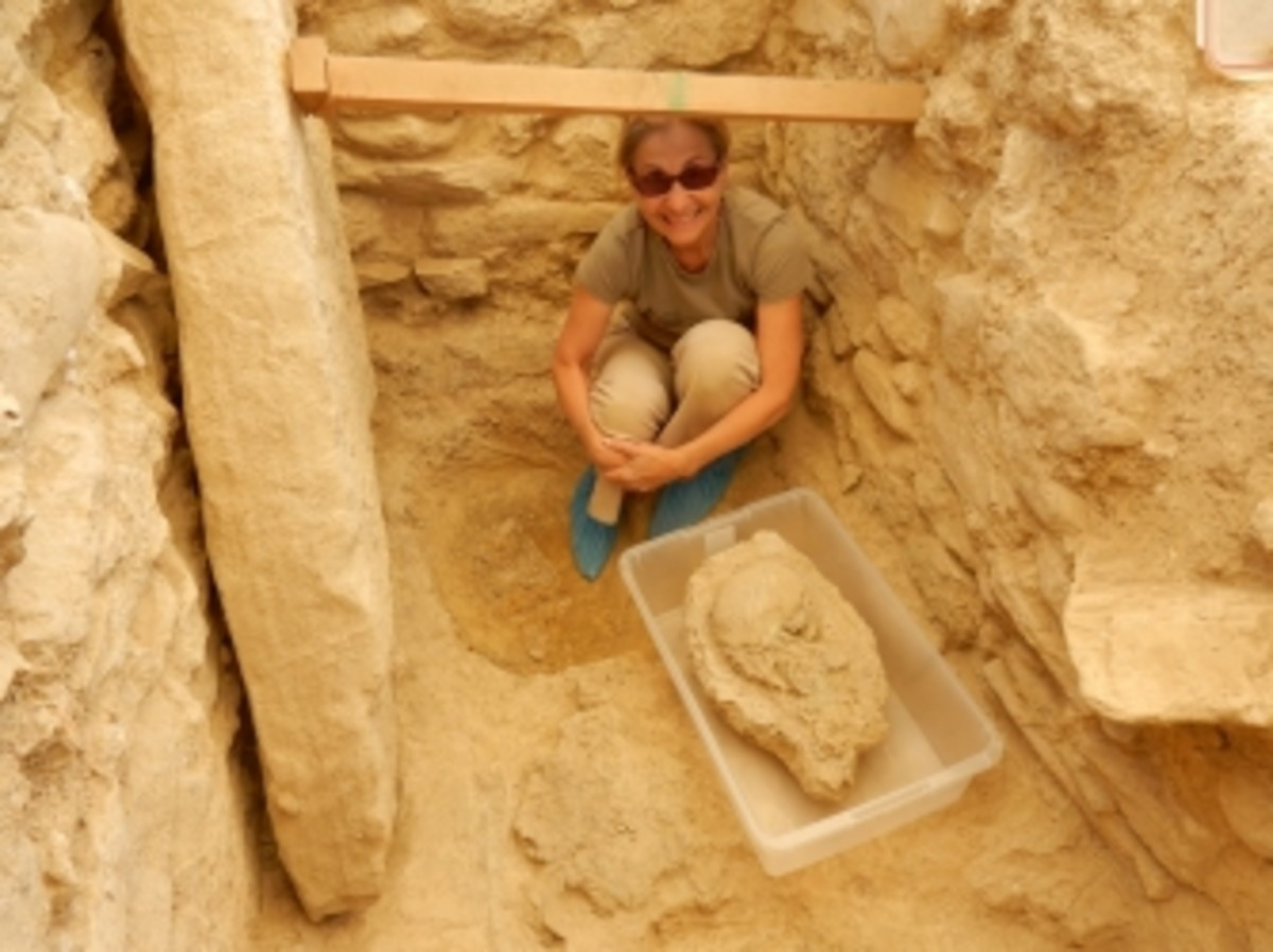 Sharon Stocker with the 3,500-year-old skull found in the tomb.