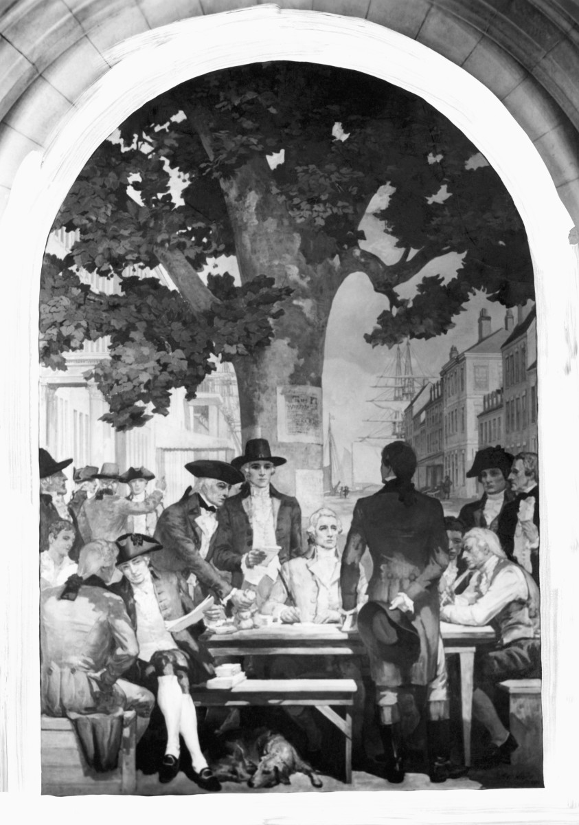Security traders meeting under a Buttonwood tree on Wall Street.