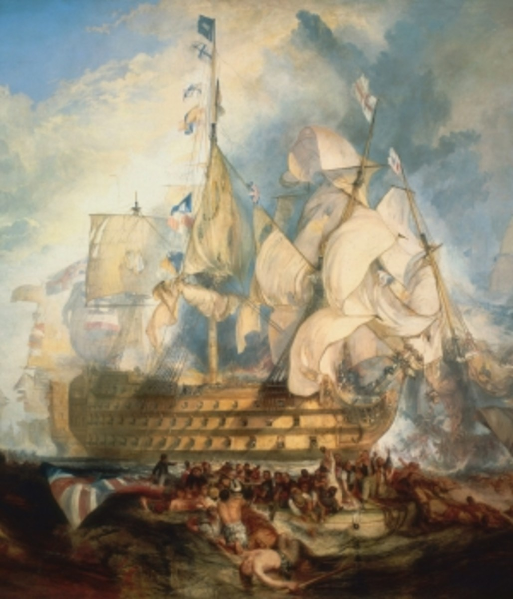 J.M.W. Turner painting of the Battle of Trafalgar.