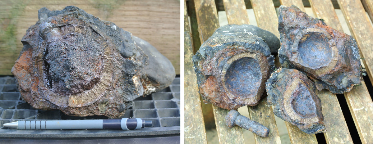 Grenade casing with powder intact (left) before removal, and with black powder removed (right).
