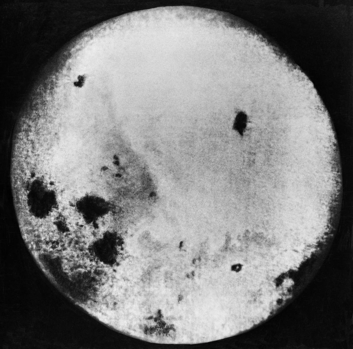 Photograph of the far side of the moon taken by the Luna 3 space probe on October 28, 1959.