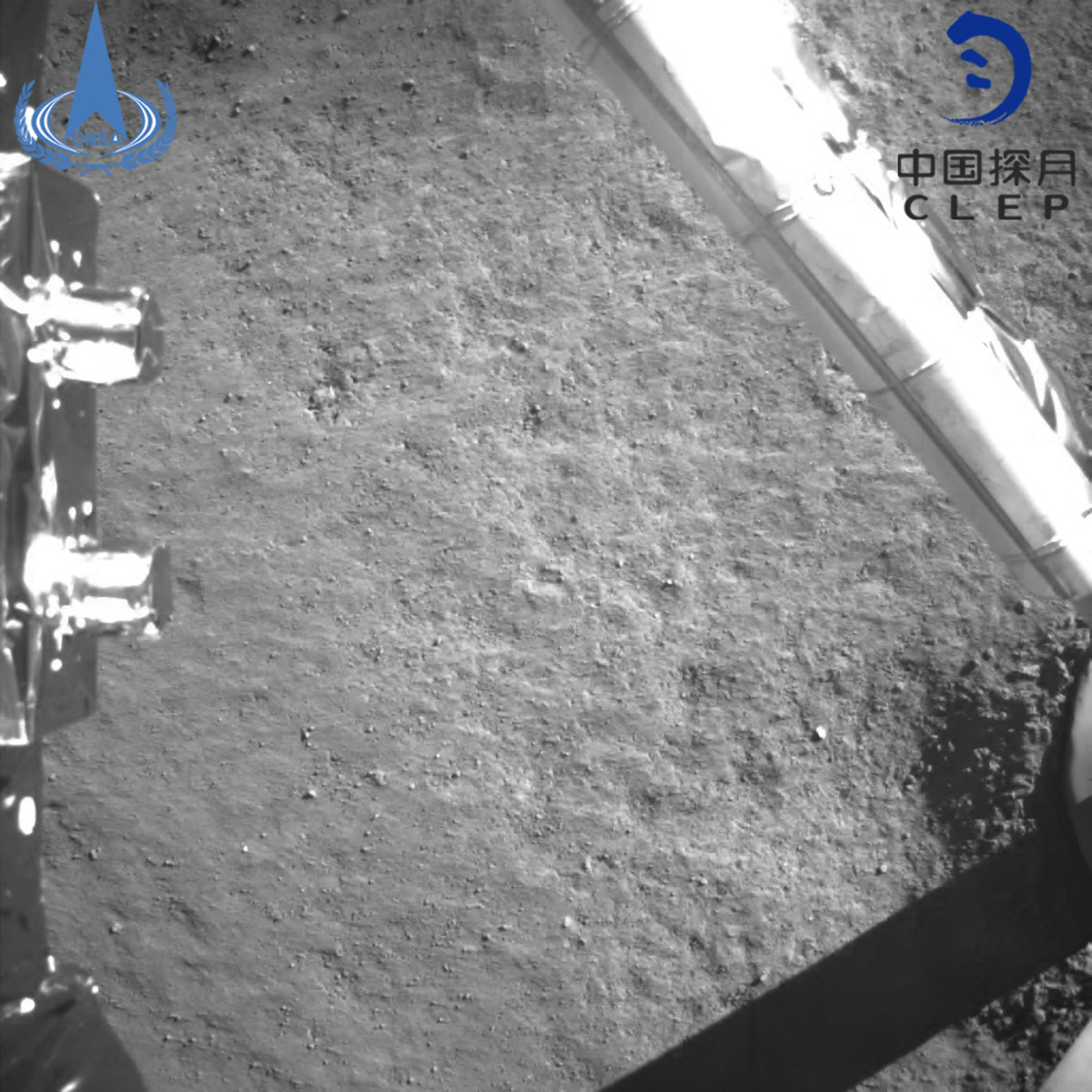 An image taken by China's Chang'e-4 probe after its landing on the far side of the moon on January 3, 2019, becoming the first spacecraft soft-landing on the moon's uncharted side never visible from Earth.