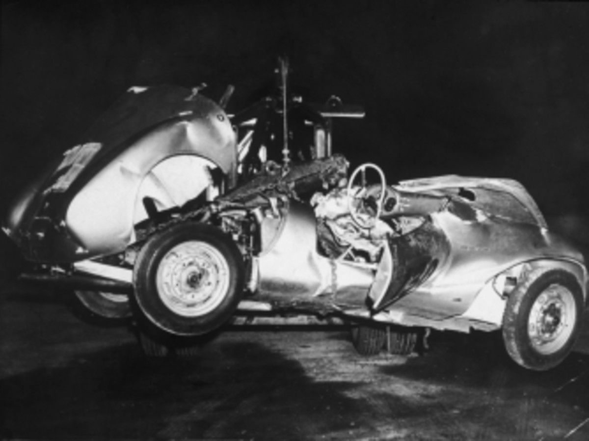 The mangled remains of 'Little Bastard,' James Dean's Porsche Spyder sports car in which he died during a high-speed car crash in 1955.