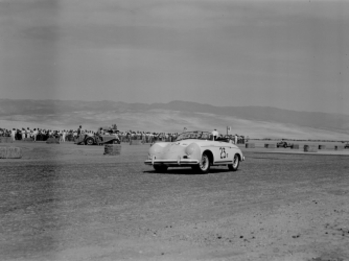 Actor James Dean (#23) rounds the first turn in his Porsche 356 Speedster at the 8th Palm Springs Road Race, March, 26-27, 1955.