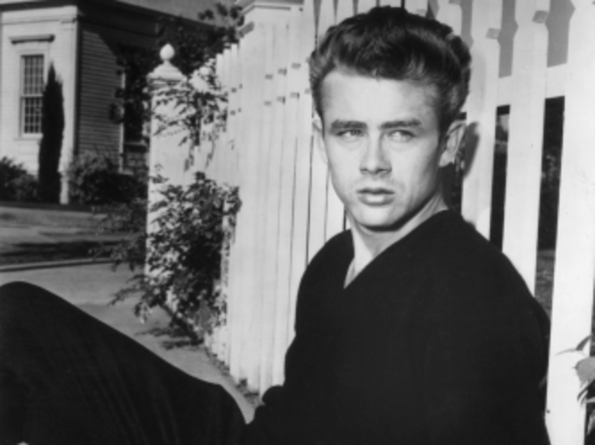 Portrait of James Dean on the set of director Nicholas Ray's film, 'Rebel Without a Cause.'