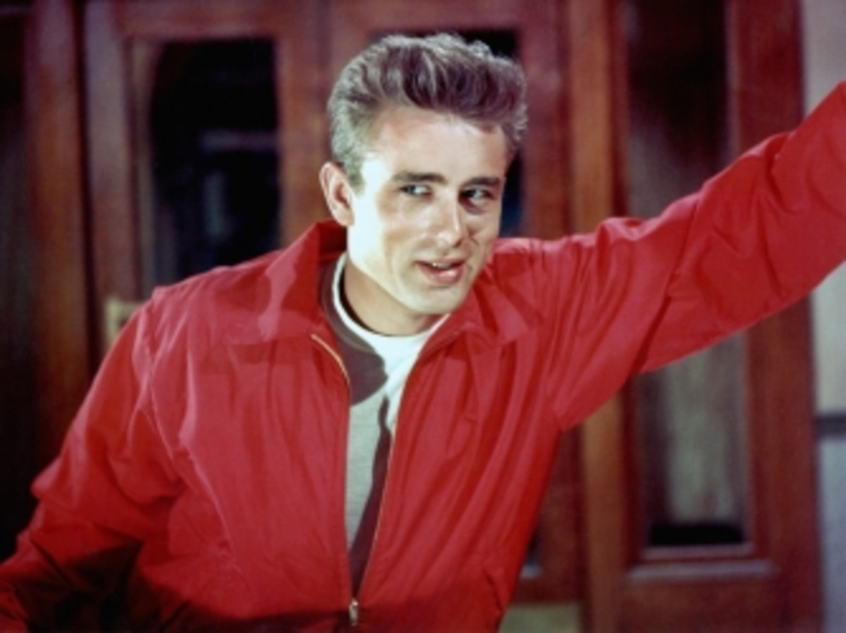 James Dean poses for a Warner Bros publicity shot for his film 'Rebel Without A Cause' in 1955 in Los Angeles, California.