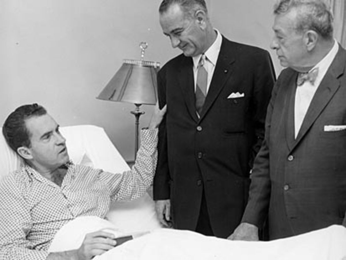 Vice presidential nominee Lyndon B. Johnson and Senator Everett Dirksen visit Richard Nixon during his stay at Walter Reed Army Medical Center.