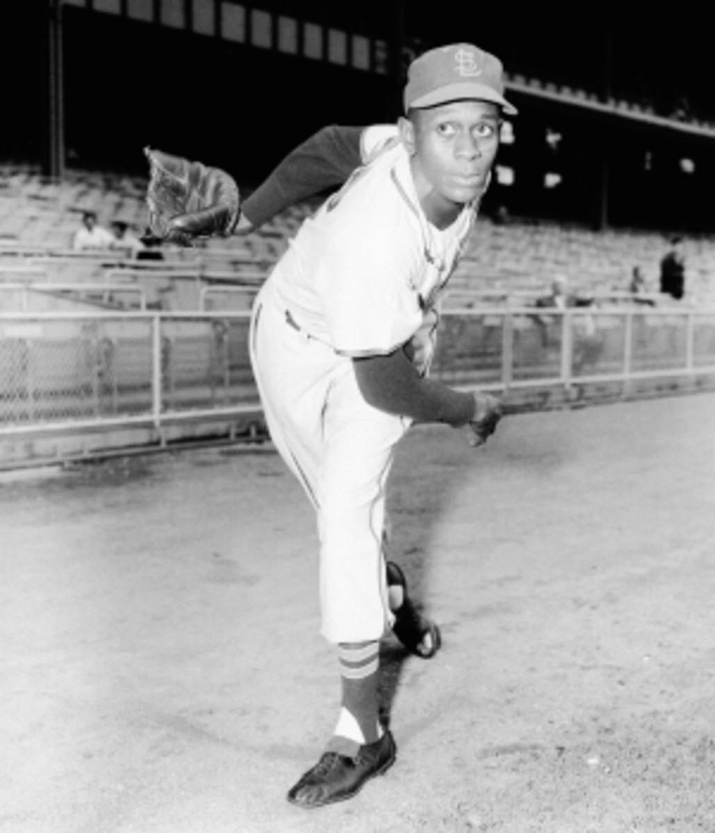 Portrait of pitcher Satchel Paige, of the St. Louis Browns, prior to a game against the New York Yankees in 1952.