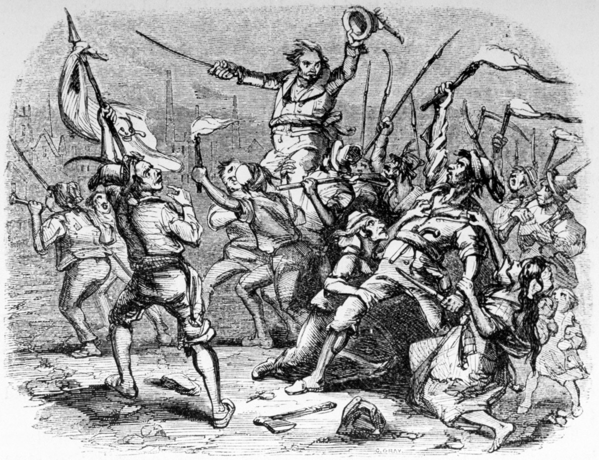A rioting mob of Luddites, British workers who were opposed to increasing mechanization of jobs.