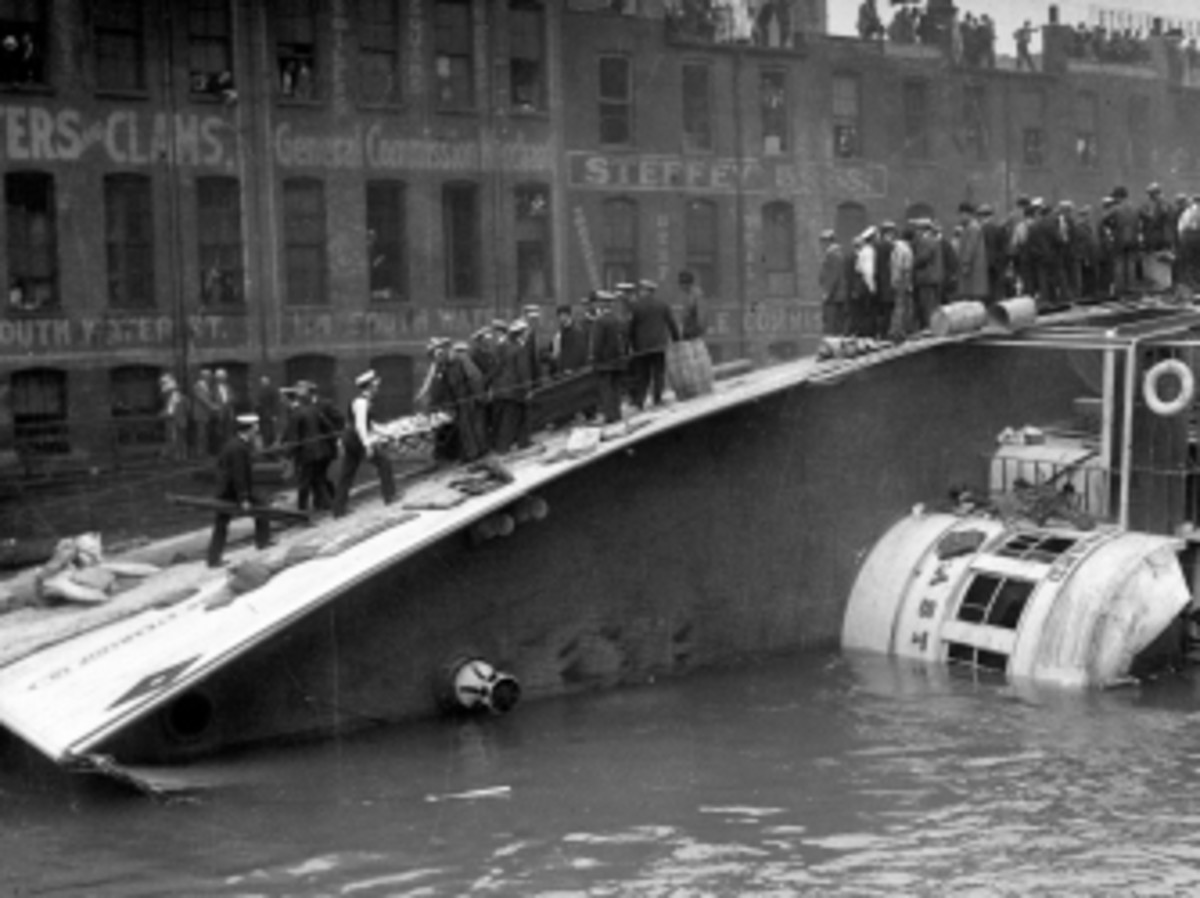 S.S. Eastland lying on its side after capsizing.