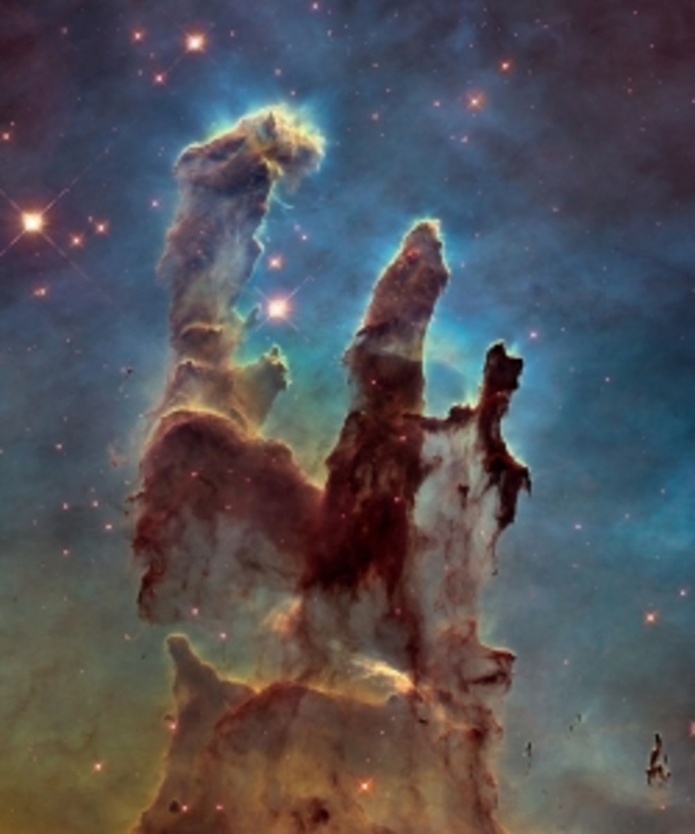 "Hubble's photo of the ""Pillars of Creation."""
