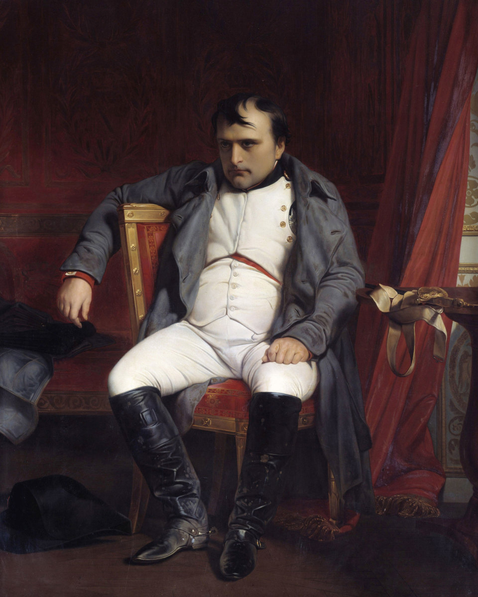 A portrait of Napoleon after his abdication in 1814.