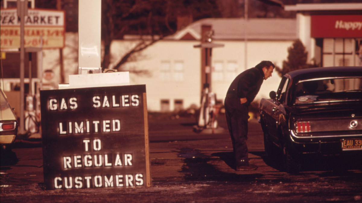 During the Fuel Crisis before gasoline sales were regulated by the state, a dealer in 1973 pumped gas only to his regular customers. This driver was refused service.