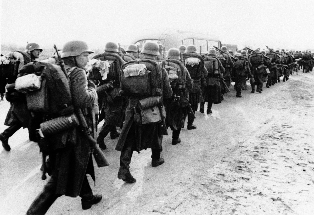Nazi soldiers marching through in Denmark on April 9, 1940.