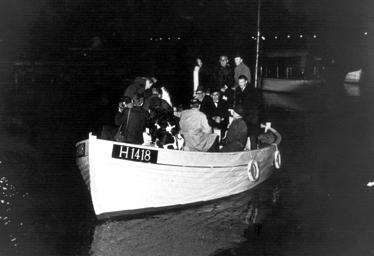 A boat full of people to escape the Nazis in Denmark in 1943. Boats were used for some 7,000 Danish Jews who fled to safety in neighboring Sweden.
