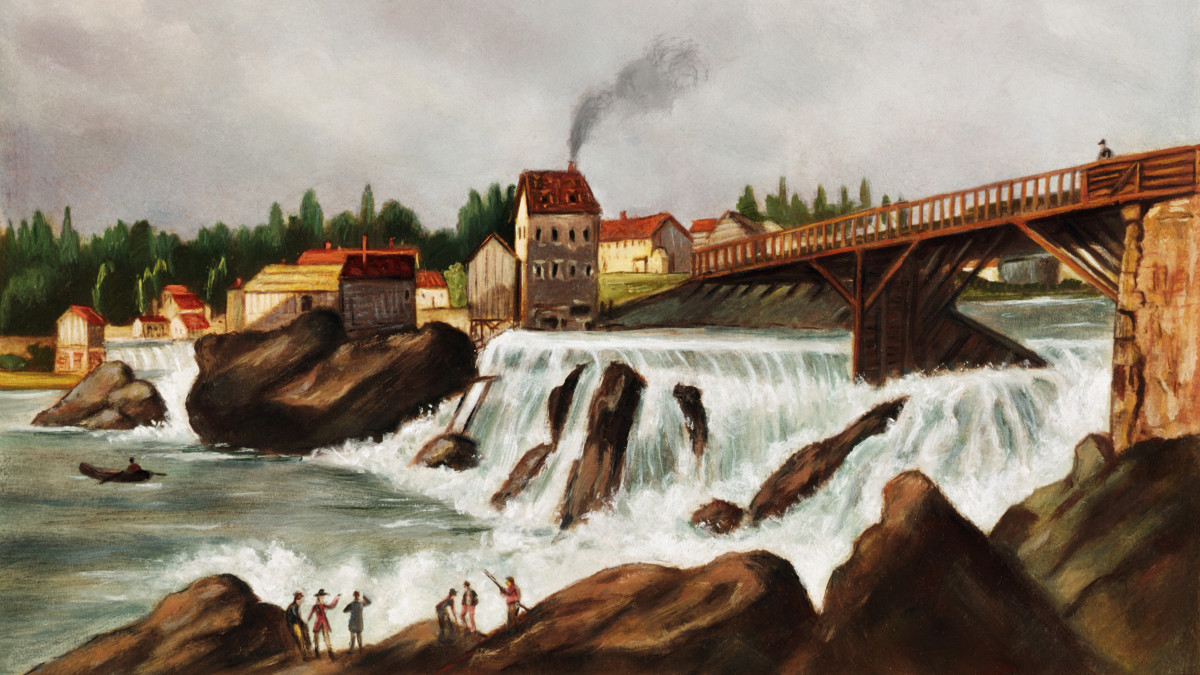 The first water-powered textile mill established by English-born Samuel Slater in Pawtucket, Rhode Island.