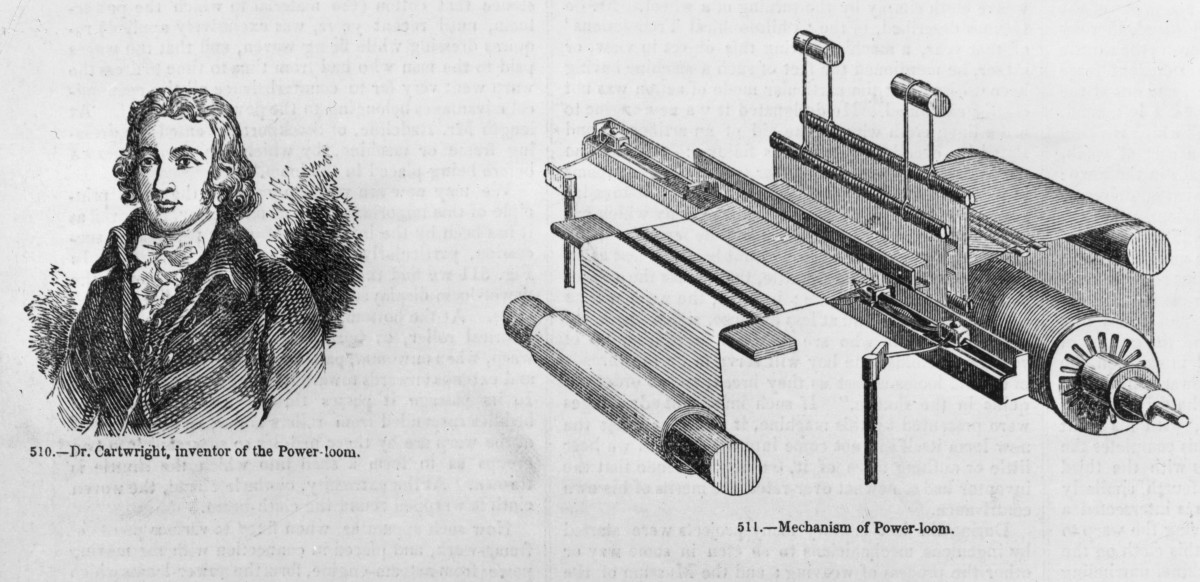 Dr. Edmund Cartwright shown next to the Power Loom, which was inspired by machinery he saw in England.