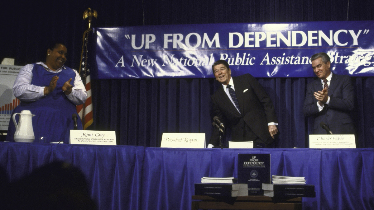 "President Ronald Reagan participating in the ""Up from Dependency"" welfare reform panel discussion."