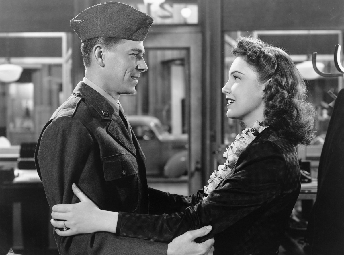 Lt. Ronald Reagan and actress Joan Leslie in the 1943 Warner Bros film, This is the Army.