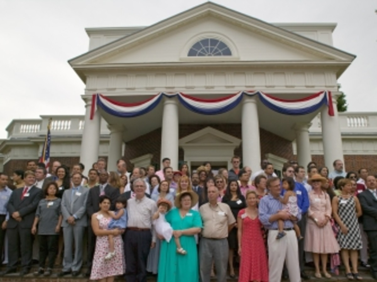 New U.S. citizens are naturalized at Monticello on July 4, 2005.