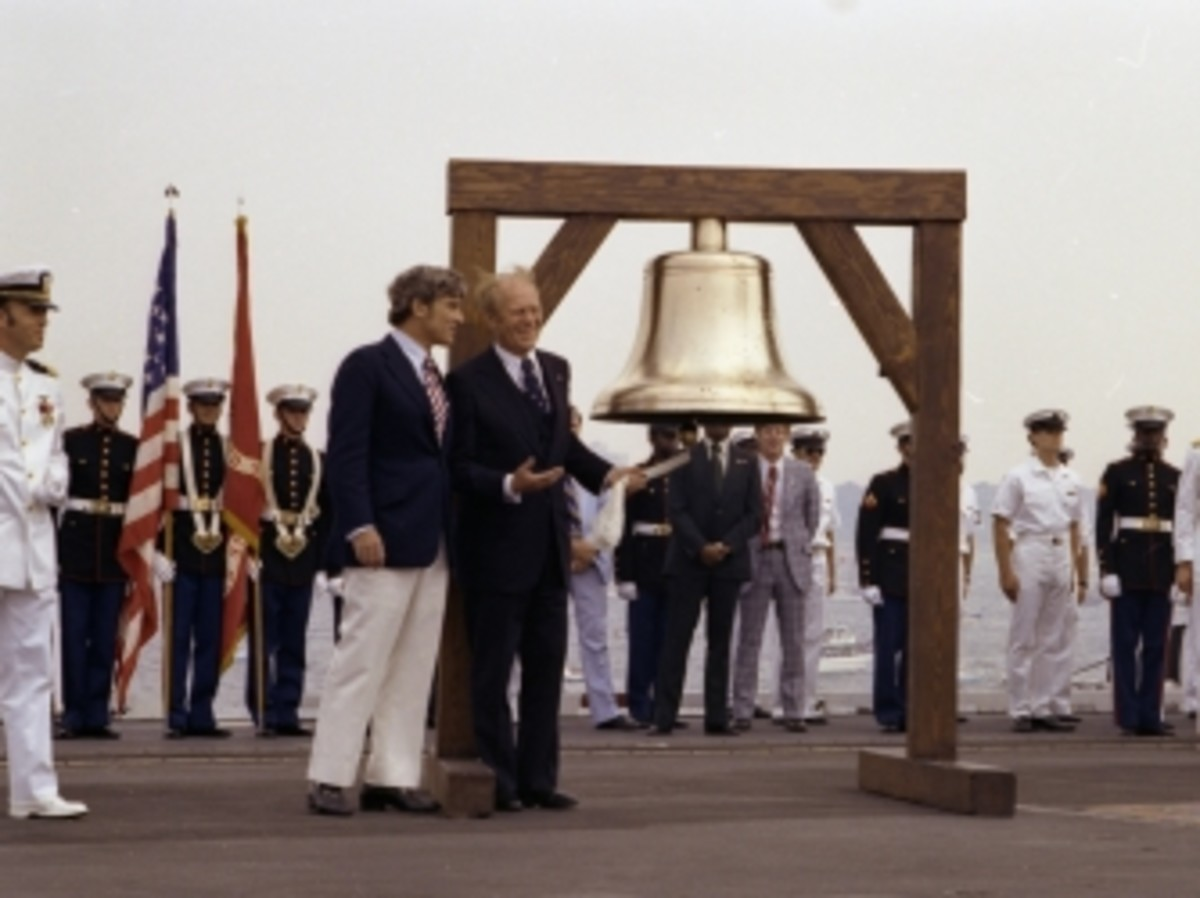 President Ford rings the Bicentennial Bell in New York Harbor on July 4, 1976.