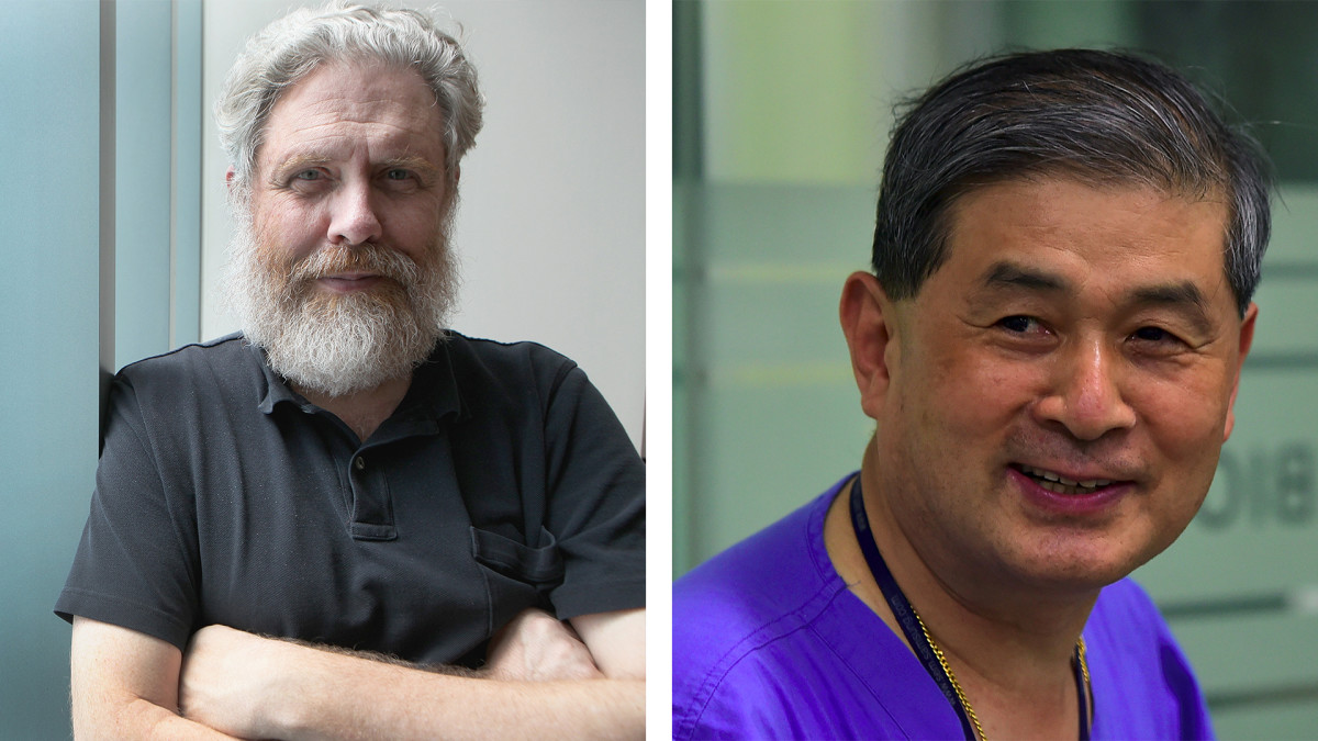 George church, genetics professor at Harvard (left), and South Korean Scientist Hwang Woo-suk.
