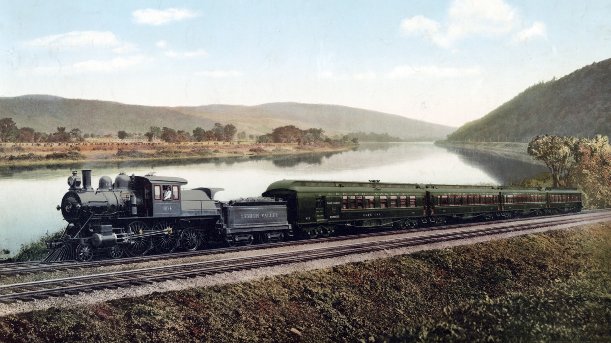 Black Diamond Express train on the Lehigh Valley Railroad in Pennsylvania, circa 1898.