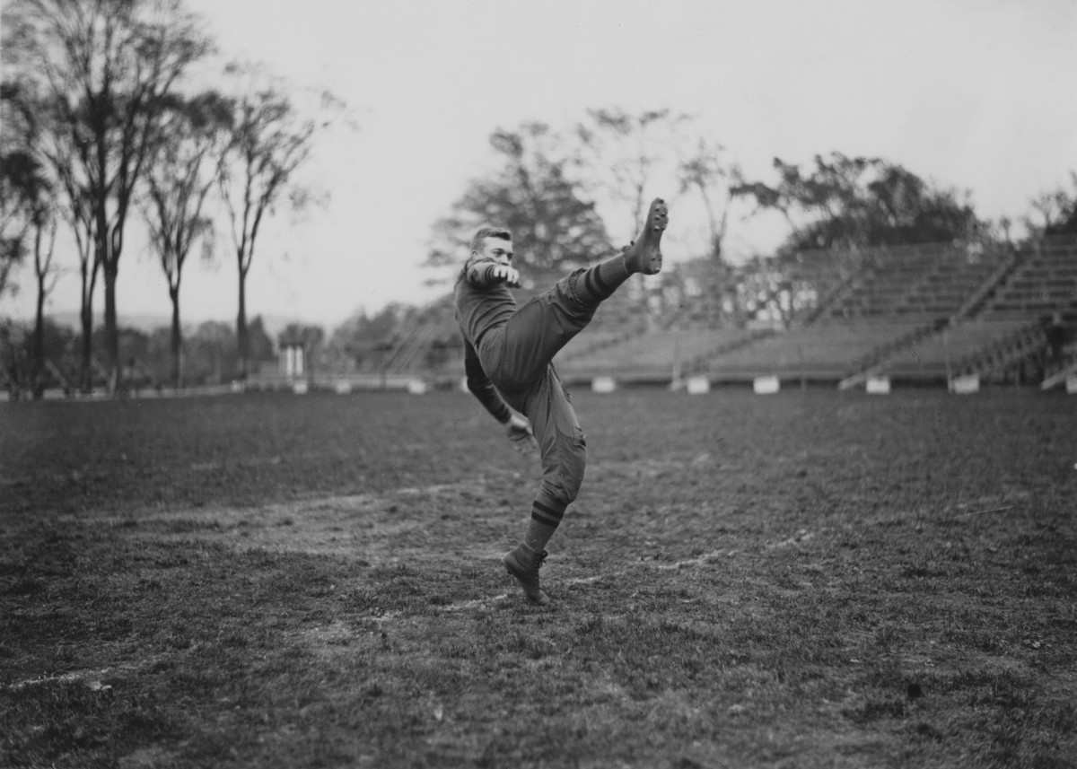 A young Dwight D. Eisenhower on the football field during his time as a military cadet at West Point Academy, New York, 1912.