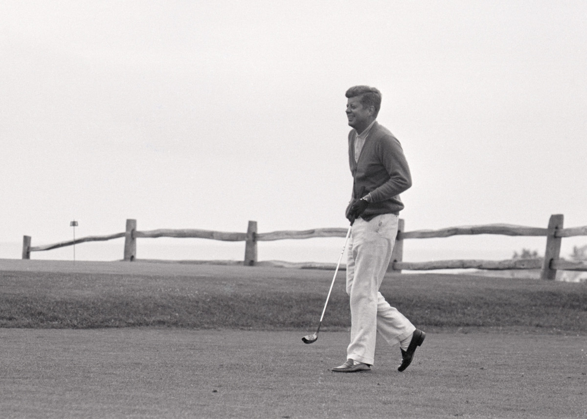 President Kennedy playing golf at Hyannisport Club, 1963.