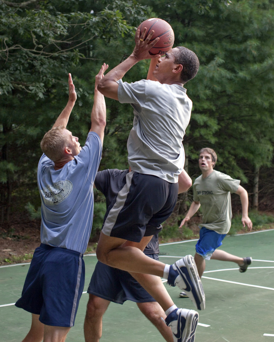 President Barack Obama playing basketball while on vacation at Martha's Vineyard in 2009.