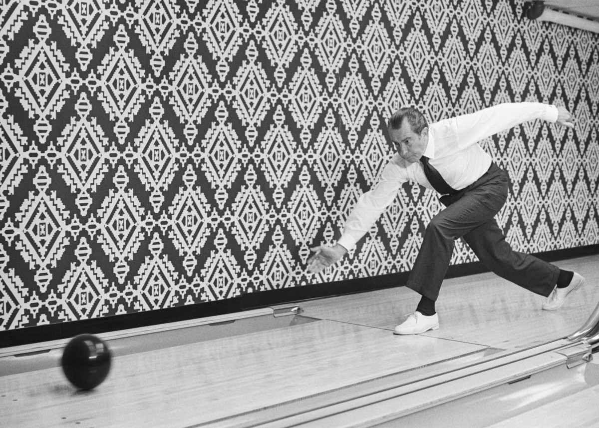 President Nixon bowling at Executive Office Bowling Alley, 1971.
