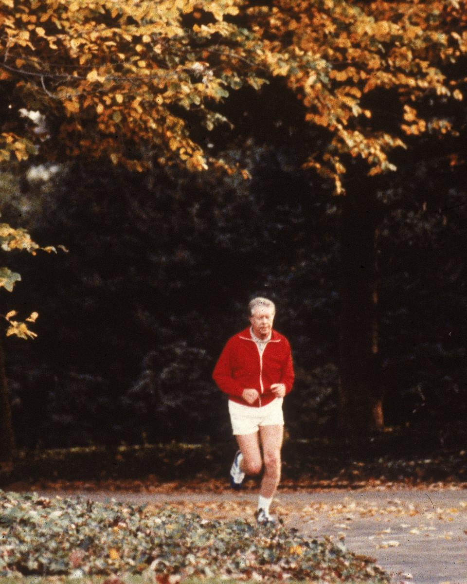 President Jimmy Carter out for a jog in 1978.