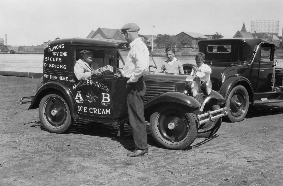 An Anheuser-Busch ice cream truck.