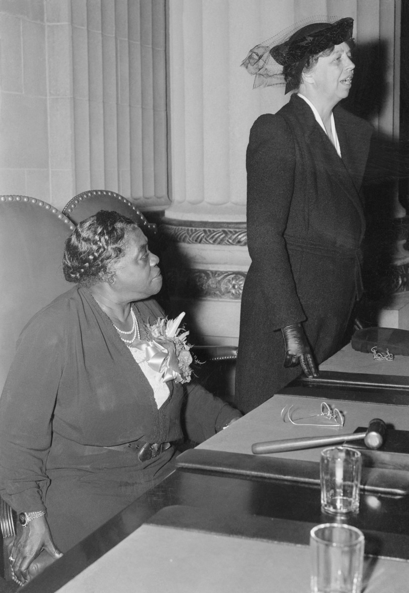 First Lady Eleanor Roosevelt with Mary McLeod Bethune, National Youth Administration Director of Negro Activities, at the opening session of the National Conference on Problems of the Negro and Negro Youth.