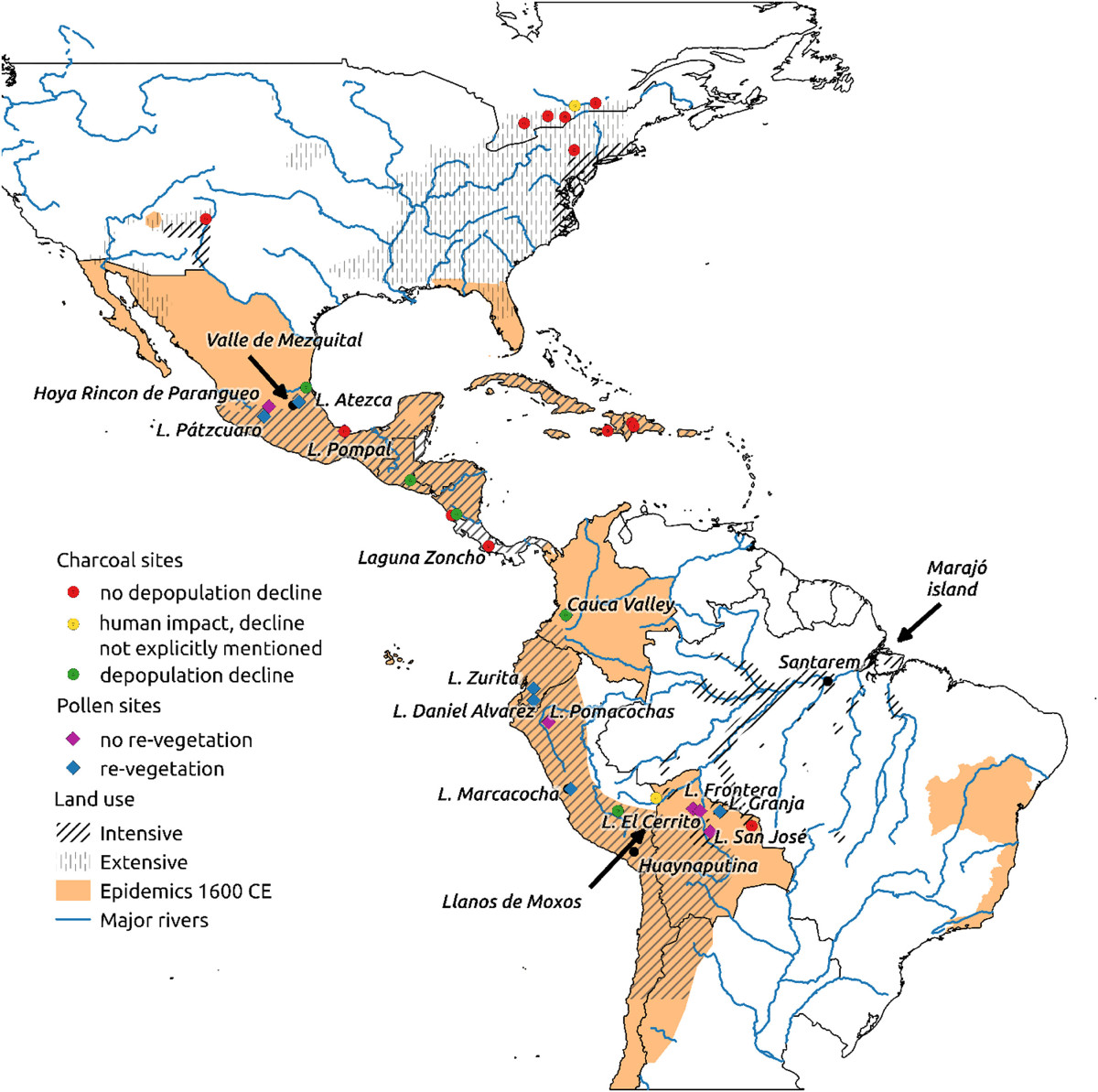 A map highlighting regions known to have been affected by disease outbreaks by 1600 CE and pre-Columbian land use.