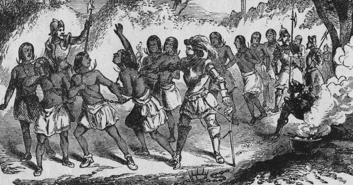 Spaniards enslaving the Native Americans.