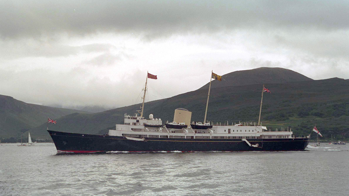 Her Majesty's Yacht Britannia off the coast of Scotland, 1997.