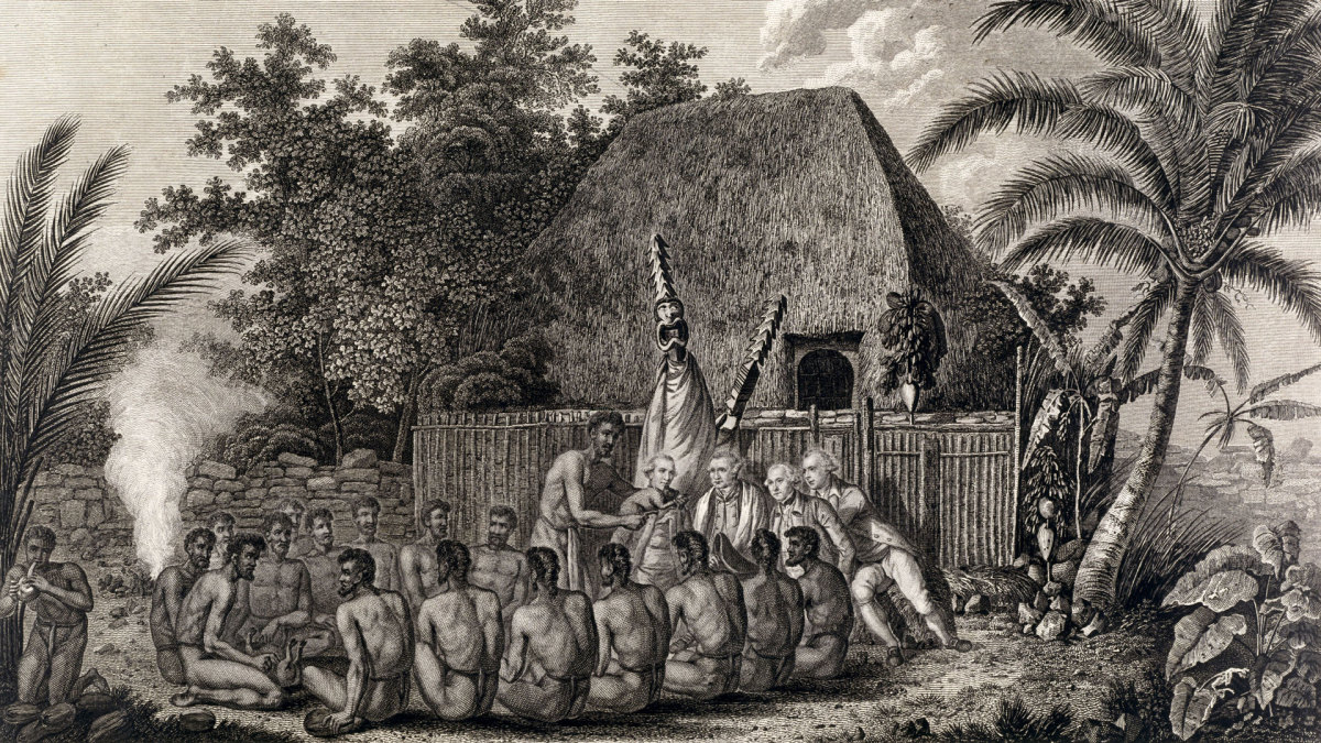 Captain James Cook with native Hawaiians.