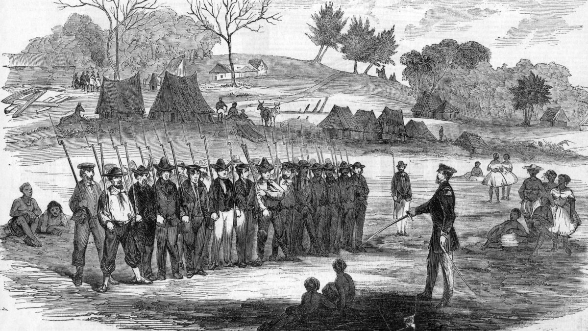 William Walker training his soldiers at Virgin Bay, circa 1850s.