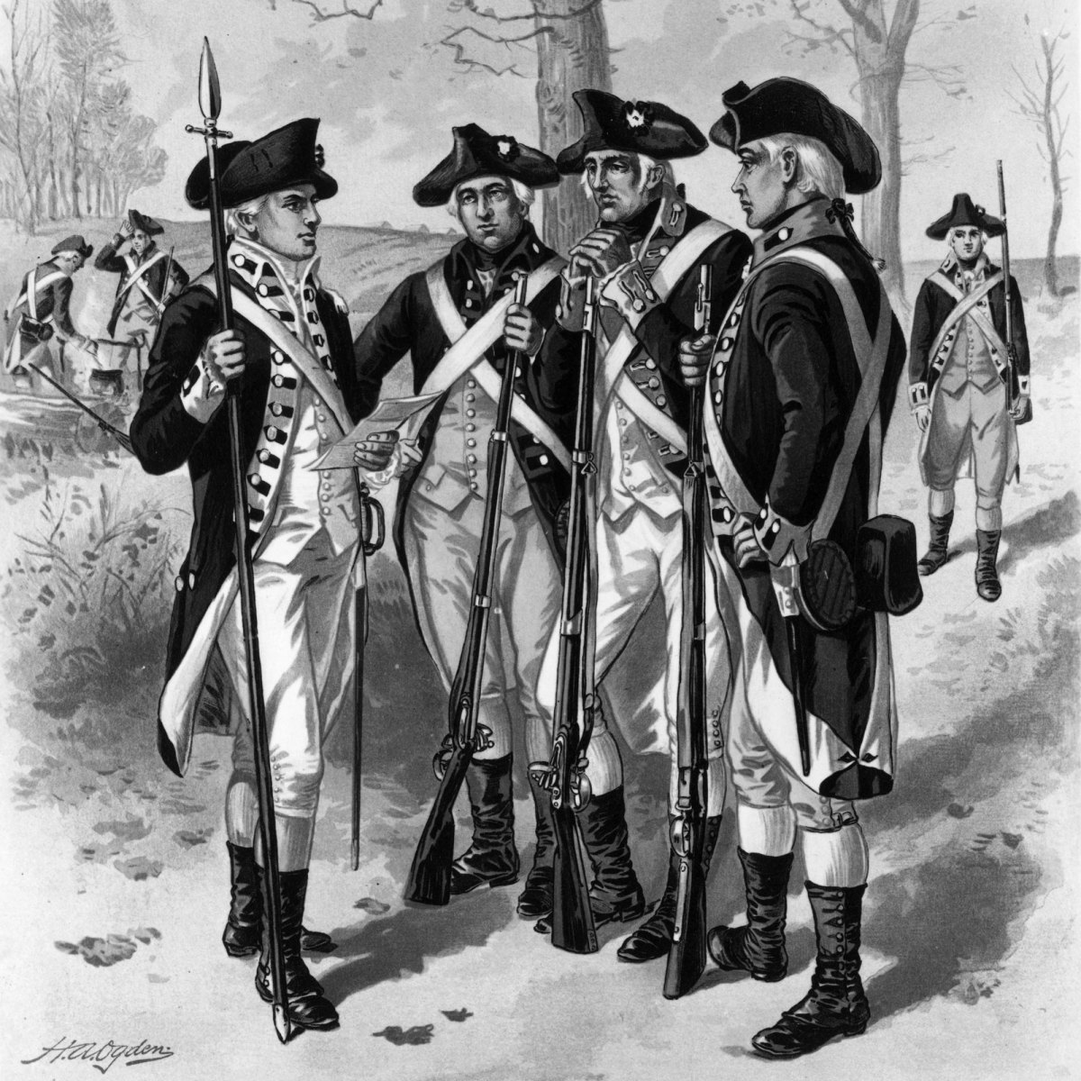 Infantrymen of the Continental Army during the American Revolution.