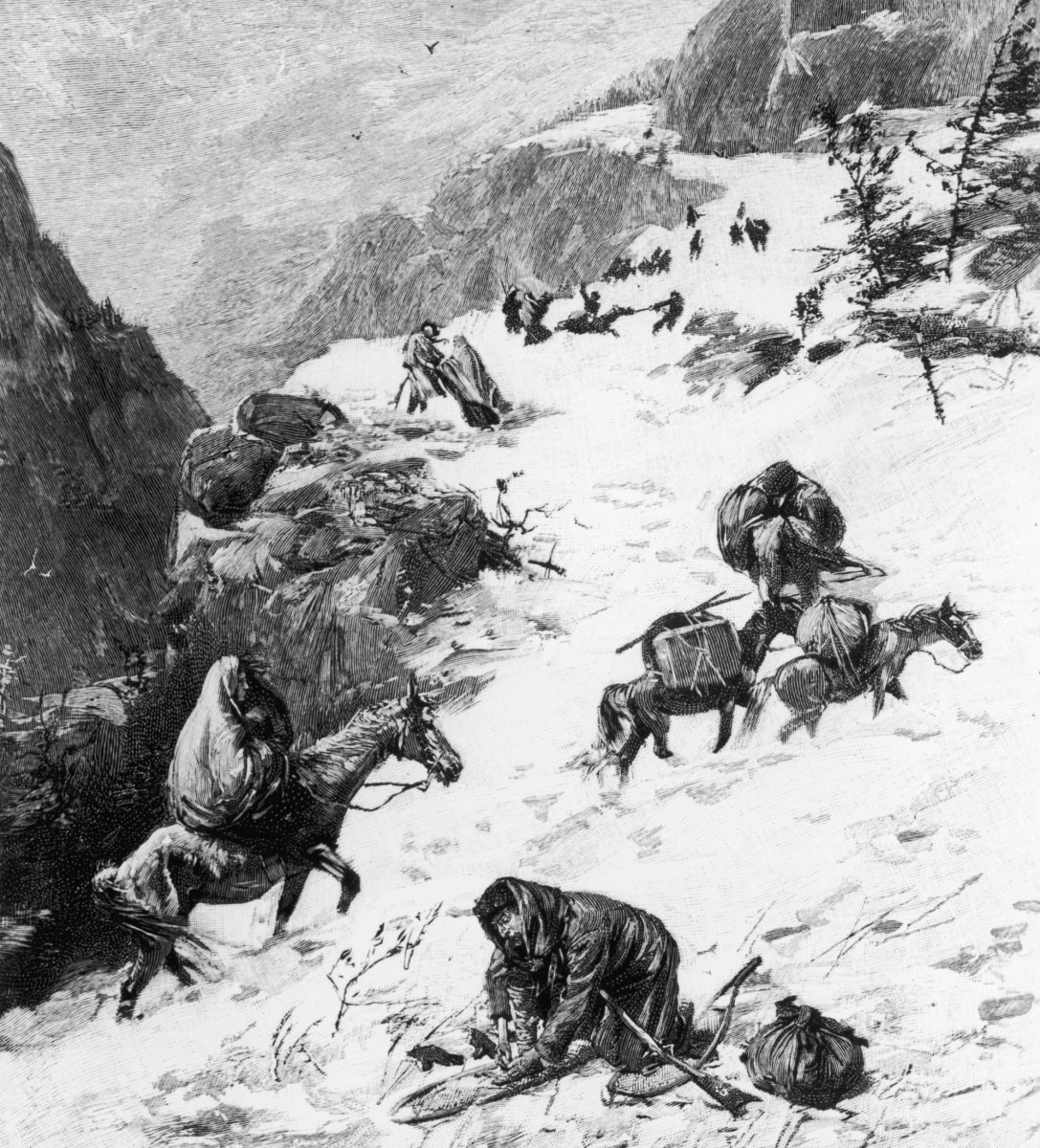 A group of California-bound American emigrants known as the Donner Party, who after becoming snowbound in the Sierra Nevada in the winter of 1847, resorted to cannibalism.
