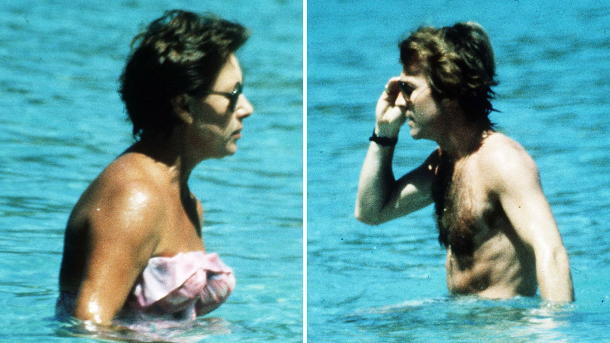Photos of Princess Margaret and Roddy Llewellyn while on holiday on February 1, 1976 in Mustique, West Indies.