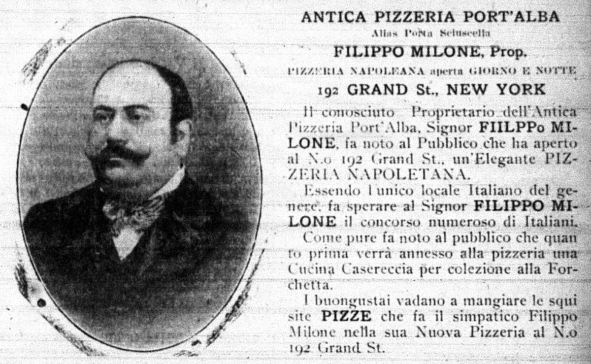 Author Peter Regas discovered this Filippo Milone pizzeria advertisement in the May 9, 1903 issue of Il Telegrafo, an Italian language newspaper published in New York City.