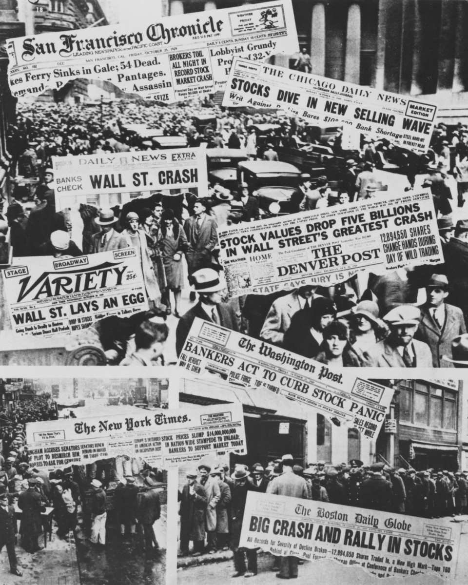 Front pages of American newspapers dedicated to the collapse of Wall Street in October 1929.