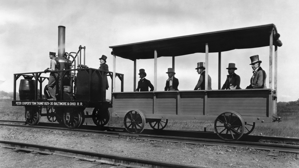 The 'Tom Thumb,' constructed by Peter Cooper in 1829, was the first locomotive to be built in America.