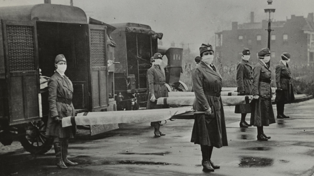 St. Louis Red Cross Motor Corps on duty during the 1918 flu epidemic.