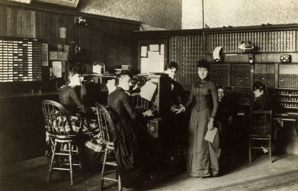 Telephone operators, circa 1880.
