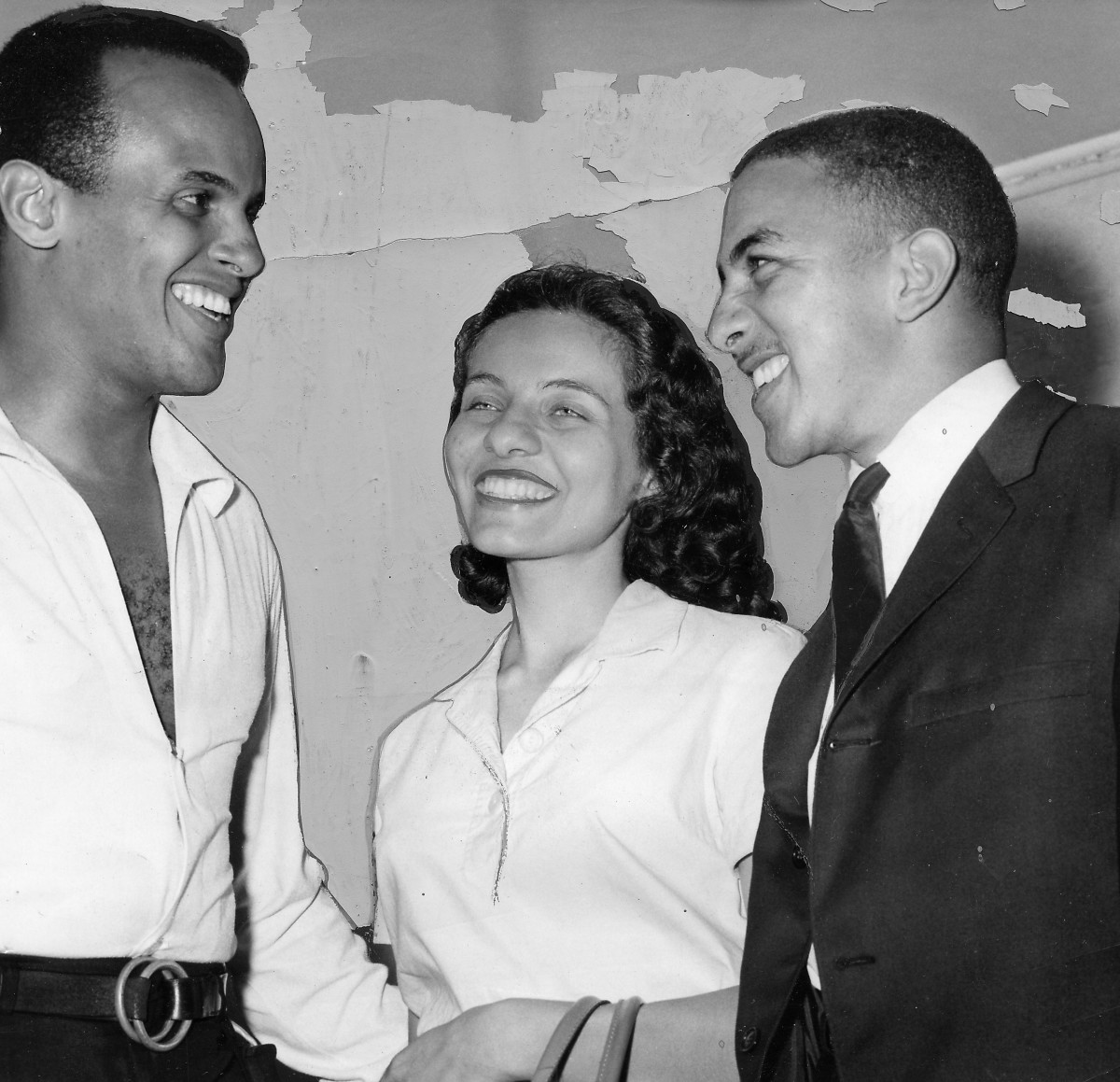Musician and actor Harry Belafonte with Freedom Riders Diane Nash and Charles Jones, discussing the Freedom Riders movement, 1961.