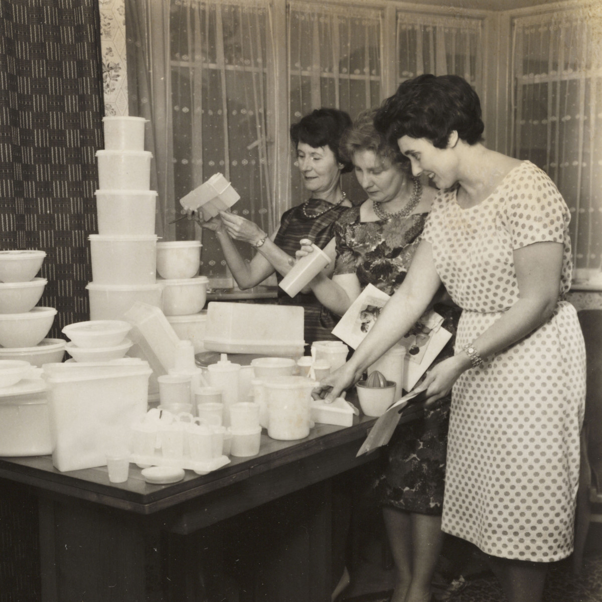 Tupperware was developed by an American, Earl Tupper, in the mid 1940s. Tupperware Parties' in the 50s and 60s were a way of marketing the product directly to women.
